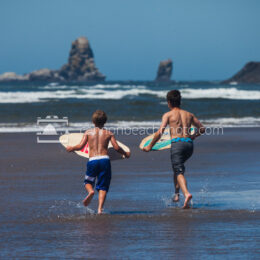 Boys Skimboarding in Cannon Beach 1