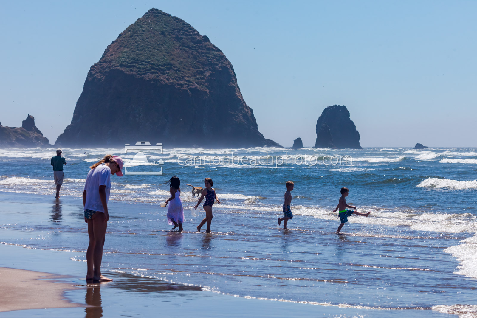 Children Playing on the Shoreline with Haystack Rock 1