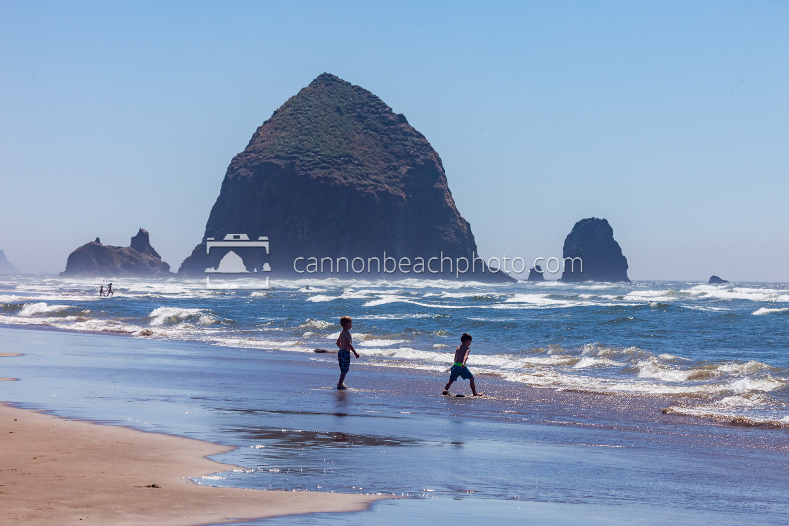 Children Playing on the Shoreline with Haystack Rock 2