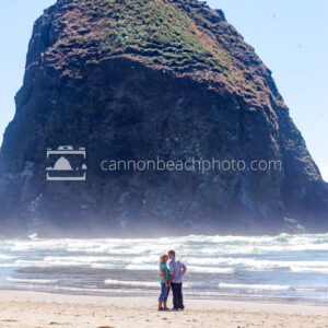 Couple Kissing Near Haystack Rock