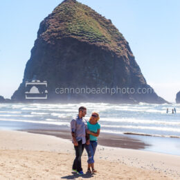 Couple Walking Near Haystack Rock, Vertical