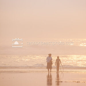 Mother and Daughter on the Beach on a Dreamy Day