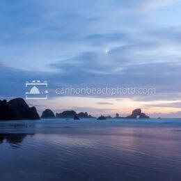 Crescent Moon Twilight at Indian Beach