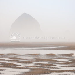 Dreamy Haystack Rock thru the Fog, Horizontal