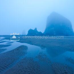 Haystack Rock in the Blue Fog