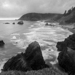 Black and White Oregon Coast Seascape, Ecola State Park