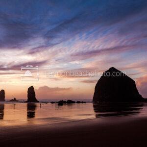 Purple Sunset at Haystack Rock