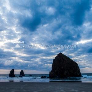 Blue Dynamic Clouds over Haystack Rock