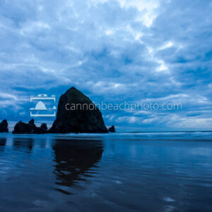 Wide View of Dynamic Blue Clouds Over Haystack Rock 2