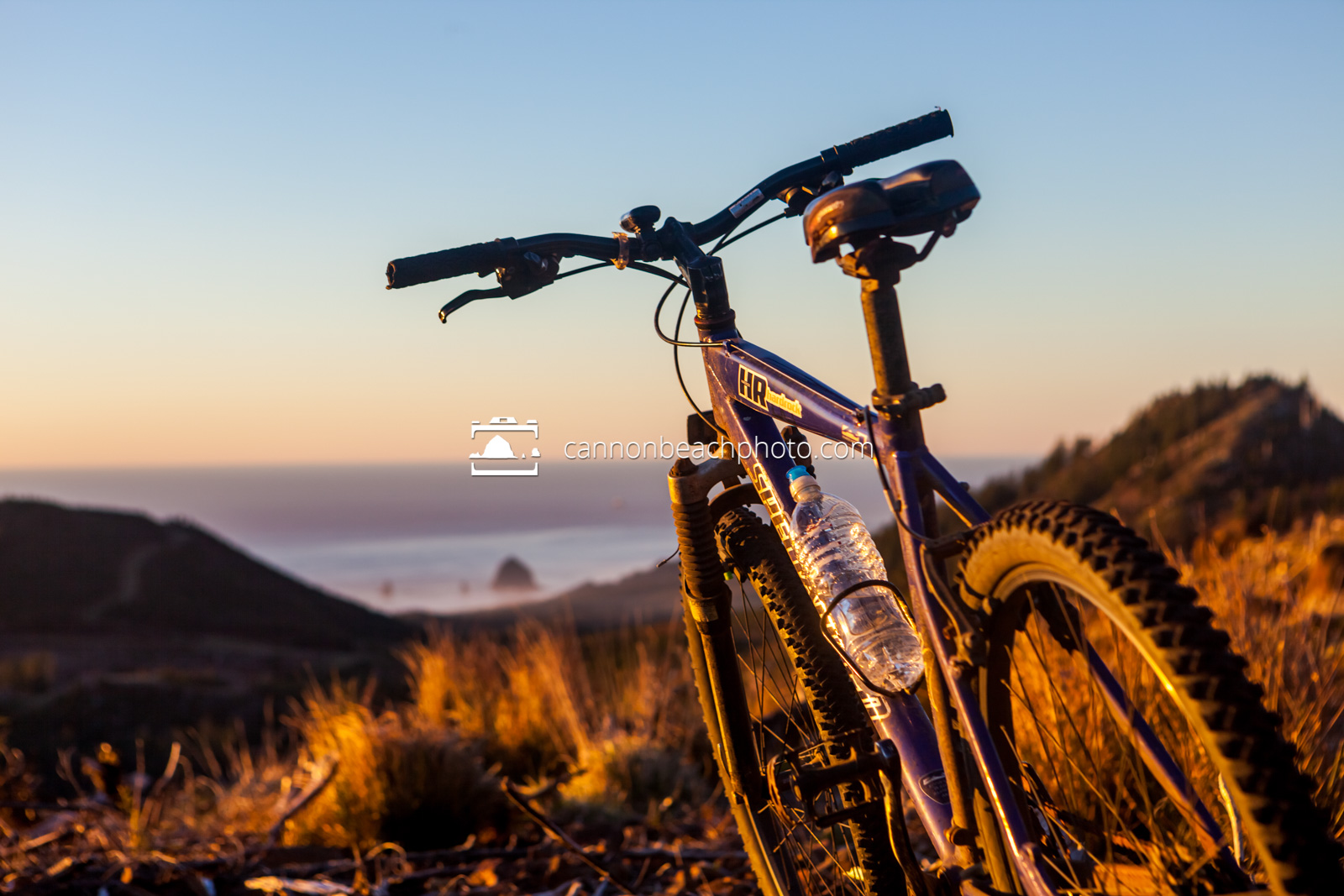 Mountain Bike at Sunset Above Cannon Beach