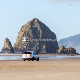 Cannon Beach Police with Haystack Rock